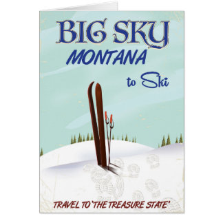 Big Sky, Montana skiing travel poster Card