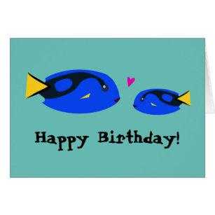 Happy birthday fishing cards photocards invitations more big small blue tang fish kissing happy birthday card bookmarktalkfo Gallery