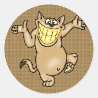 Big Smile Cartoon Cat Classic Round Sticker