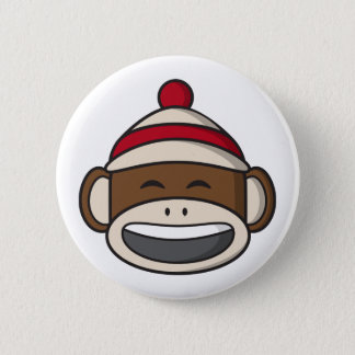 Big Smile Sock Monkey Emoji 2 Inch Round Button