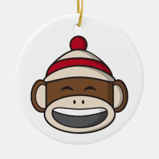 Big Smile Sock Monkey Emoji Ceramic Ornament