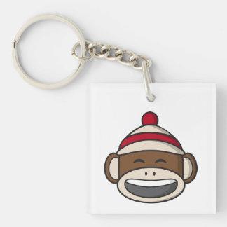 Big Smile Sock Monkey Emoji Keychain