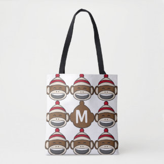 Big Smile Sock Monkey Emoji Monogrammed Tote Bag