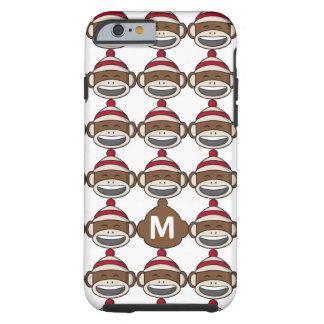 Big Smile Sock Monkey Emoji Monogrammed Tough iPhone 6 Case
