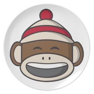 Big Smile Sock Monkey Emoji Plate