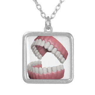 big smile teeth silver plated necklace