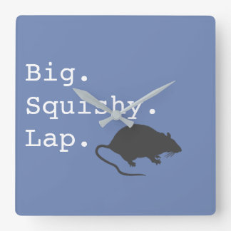 Big Squishy Lap Rat Square Wall Clock