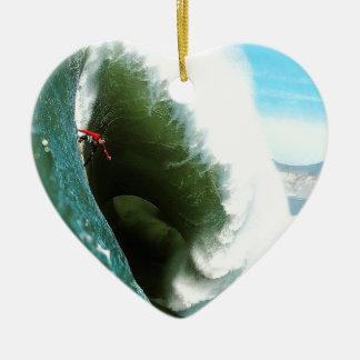 Big Steep Surfing Wave Ceramic Ornament