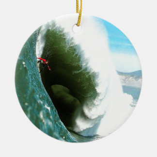 Big Steep Surfing Wave Ceramic Ornament