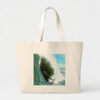 Big Steep Surfing Wave Large Tote Bag