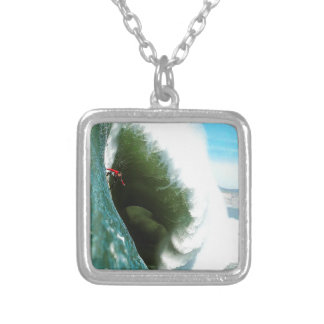 Big Steep Surfing Wave Silver Plated Necklace