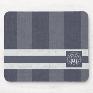 Big Stripes in Denim Blue with Seas the Day Mouse Pad