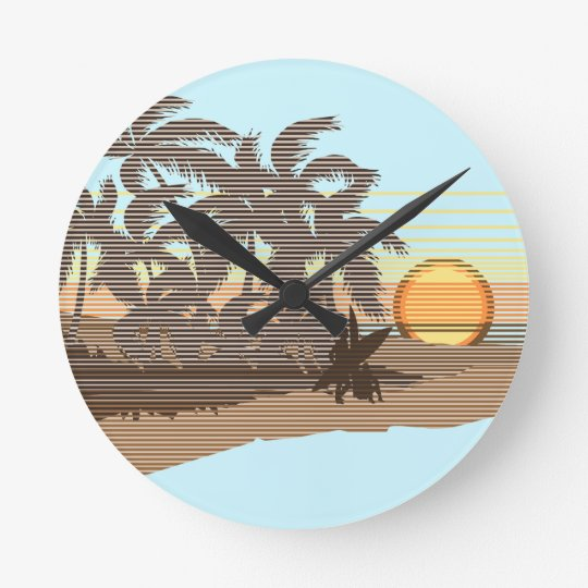 Big Sunset Stripe Hawaiian Wall Clocks