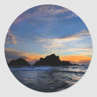 Big Sur Sunset Classic Round Sticker