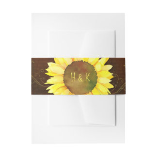 Big Swirly Sunflower Wedding Invitation Belly Band