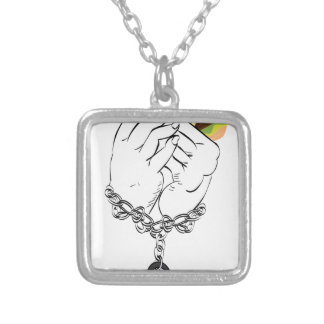 Big Tasty Burger and Hands2 Silver Plated Necklace