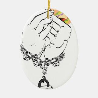Big Tasty Burger and Hands Ceramic Ornament