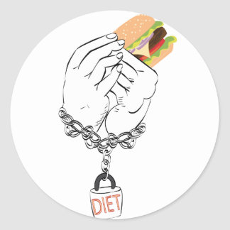 Big Tasty Burger and Hands Classic Round Sticker