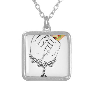 Big Tasty Burger and Hands Silver Plated Necklace