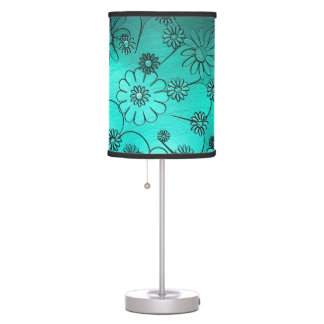 Big Teal Flowers Modern Design Table Lamps