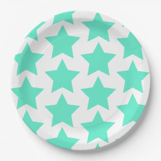 Big teal stars pattern - Paper Plates 9 Inch Paper Plate