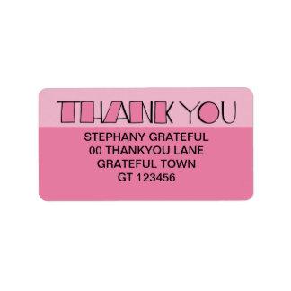 Big Thank You pink Address Label