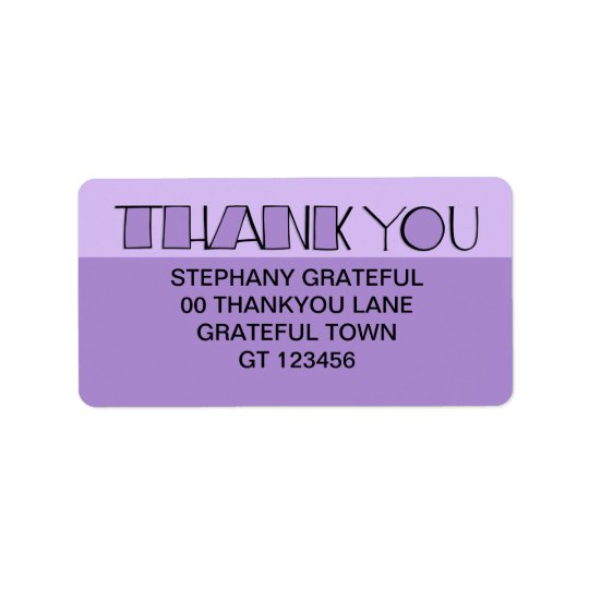 Big Thank You purple Address Label