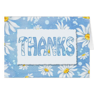 big thanks-daisies on blue background card