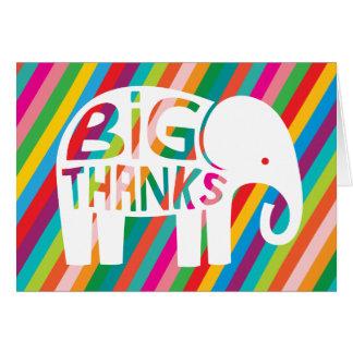 Big Thanks Elephant Rainbow Stripe Note Card