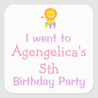 Big Top Circus Carnival Birthday 'I went to' Square Sticker