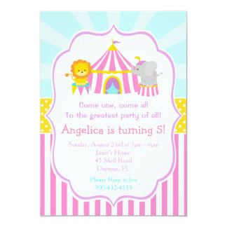 Big Top Circus Carnival Birthday in Pink Card