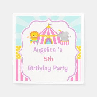 Big Top Circus Carnival Birthday in Pink Paper Napkin