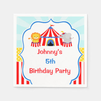 Big Top Circus Carnival Birthday in Red Paper Napkin