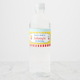 Big Top Circus Carnival Birthday in Red Water Bottle Label