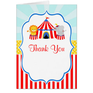 Big Top Circus Carnival Birthday Party Thank You Card