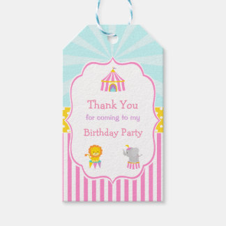 Big Top Circus Carnival in Pink Gift Tag