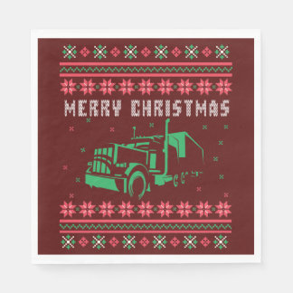 Big Truck 18 Wheeler Ugly Christmas Sweater Paper Napkins