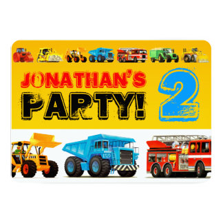 Big Trucks 2nd Birthday Party Card