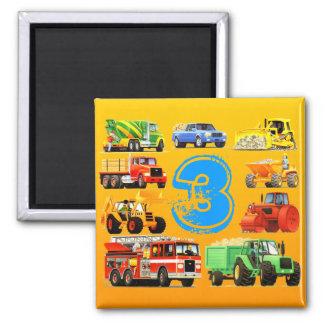 Big Trucks 3rd Birthday Fridge Magnet