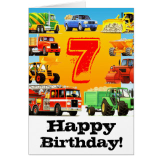Big Trucks 7th Birthday Party Card
