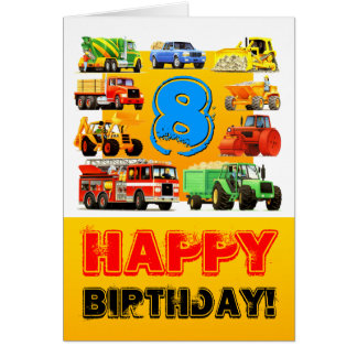 Big Trucks 8th Birthday Card