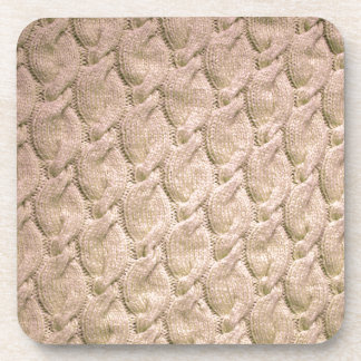 Big twisted knitted cables (cream) drink coaster
