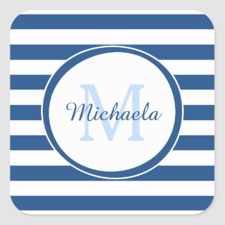 Big Vivid Blue Stripes With Cool Monogrammed Name Square Sticker