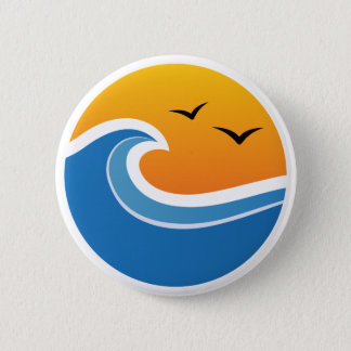 Big wave sunset with silhouette birds button