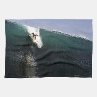 Big wave surfing tropical paradise surf kitchen towel