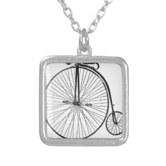 Big Wheel Bicycle Silver Plated Necklace
