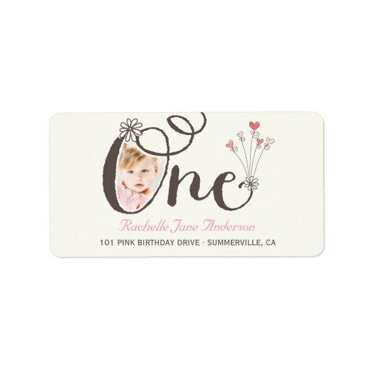 Big Whimsical One Baby Girl 1st Birthday Photo Label