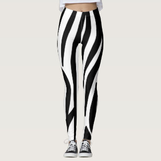 Big White and Black Zebra Pattern Leggings