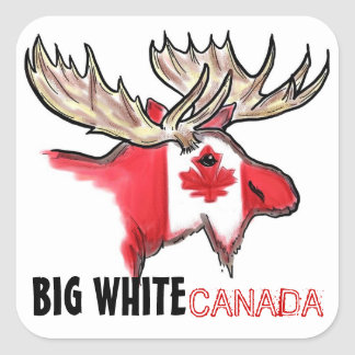 Big White Canada elk art flag red white stickers