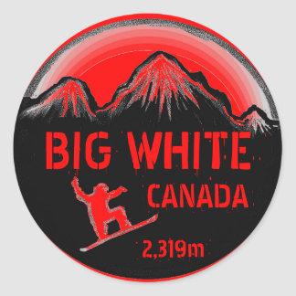 Big White Canada red snowboard art stickers